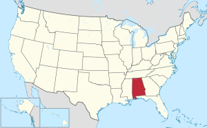 The state of Alabama highlighted on the US map