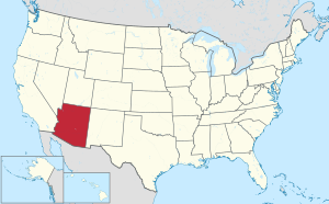The state of Arizona highlighted on the US map