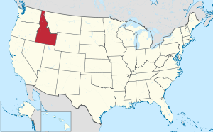 The state of Idaho highlighted on the US map