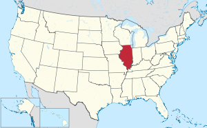 The state of Illinois highlighted on the US map