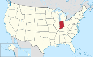 The state of Indiana highlighted on the US map