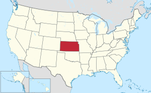 The state of Kansas highlighted on the US map