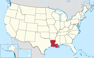 The state of Louisiana highlighted on the US map