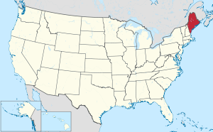 The state of Maine highlighted on the US map
