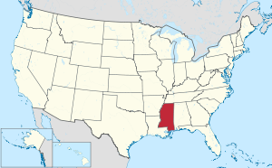 The state of Mississippi highlighted on the US map