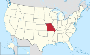 The state of Missouri highlighted on the US map
