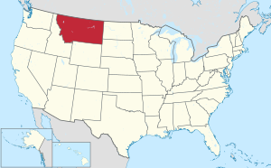 The state of Montana highlighted on the US map