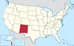 The state of New Mexico highlighted on the US map
