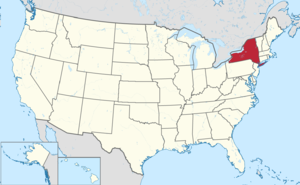 The state of New York highlighted on the US map