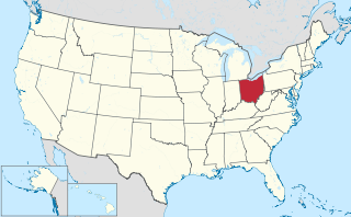 The state of Ohio highlighted on the US map