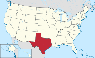 The state of Texas highlighted on the US map