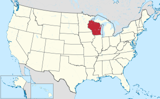 The state of Wisconsin highlighted on the US map